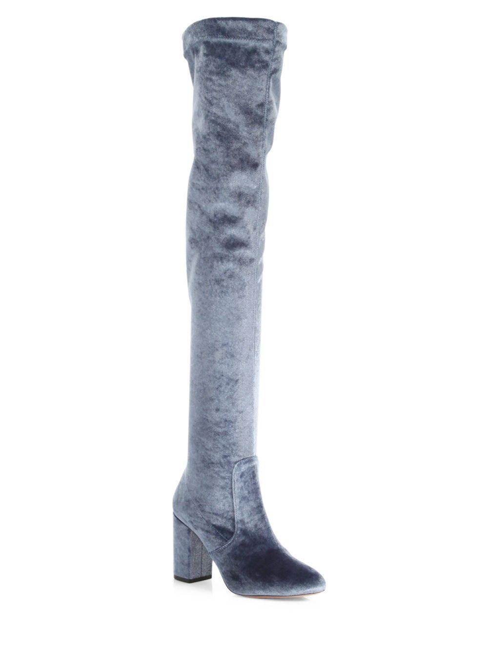 9428202a22a2c Lyst - Aquazzura So Me Velvet Over-the-knee Boots in Gray - Save 30%