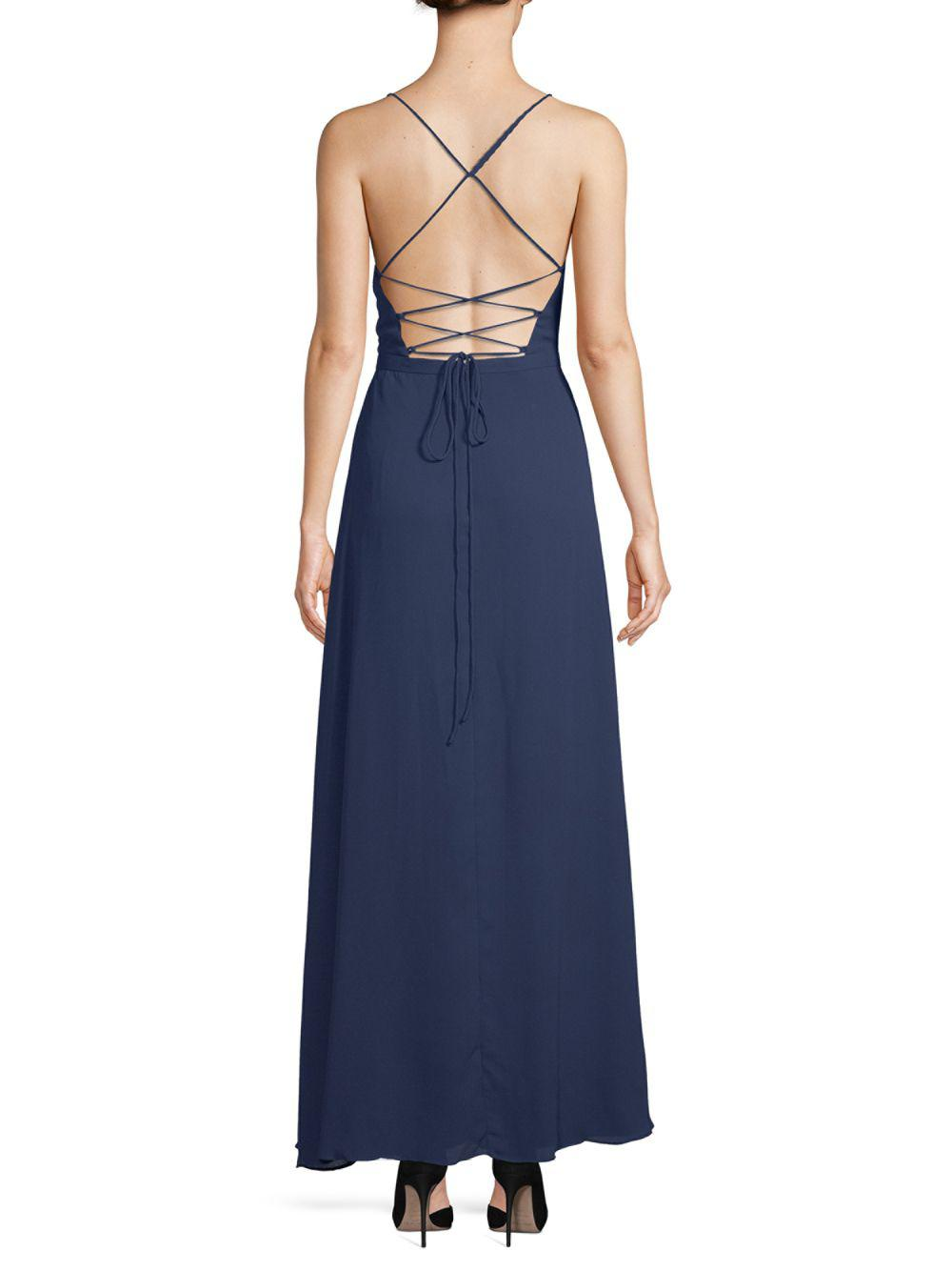 Lyst - Fame & Partners Rhodes Floor-length Gown in Blue