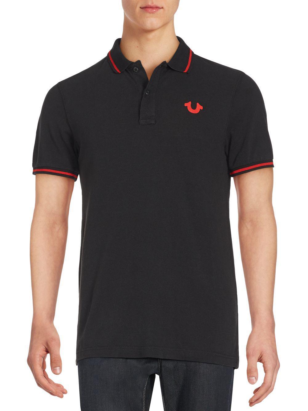 Lyst True Religion Signature Print Polo Shirt In Black For Men