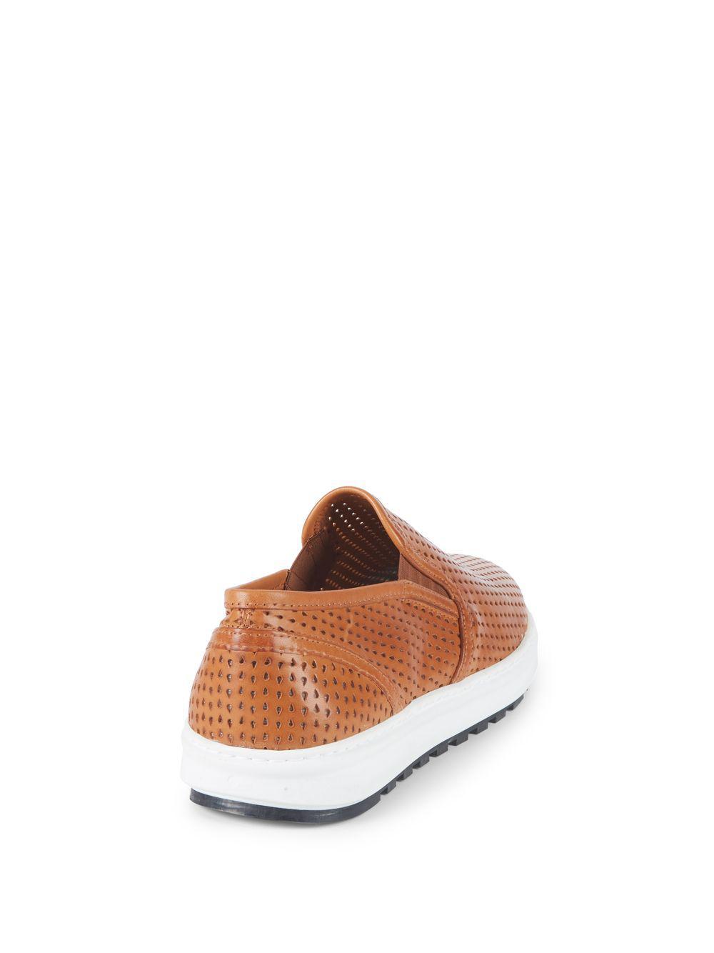 0642433c615 Vince Camuto Sebasten Leather Slip-on Sneakers in Brown - Lyst