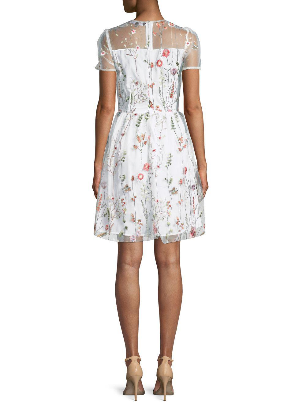 Lyst - Walter Baker Drew Embroidered Floral Lace Dress in White e79ec190d
