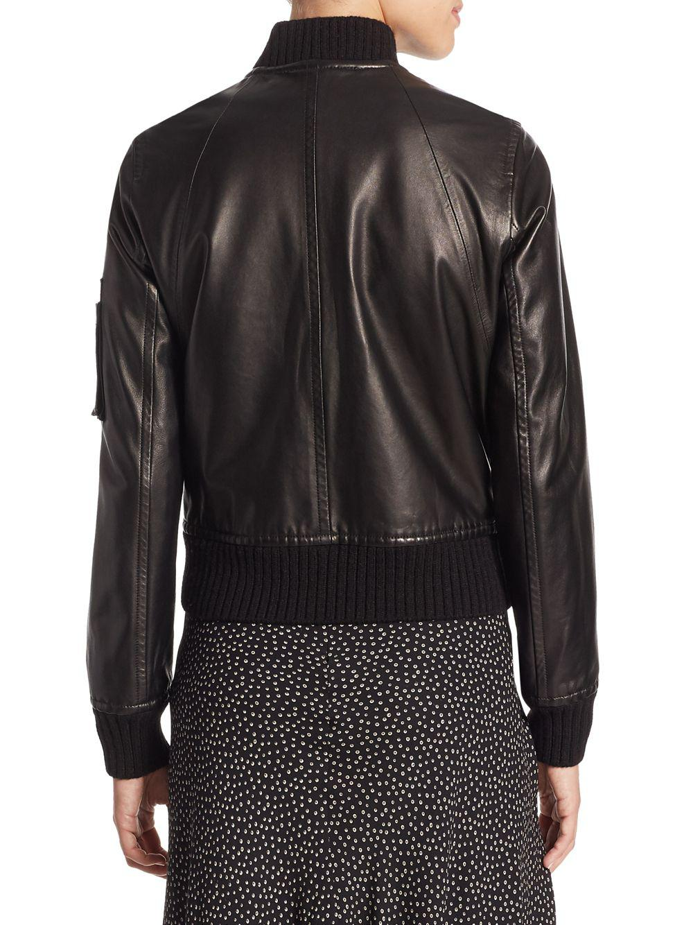 9c7bdb0f6fd Lyst - Vince Lamb Leather Bomber Jacket in Black - Save 15%