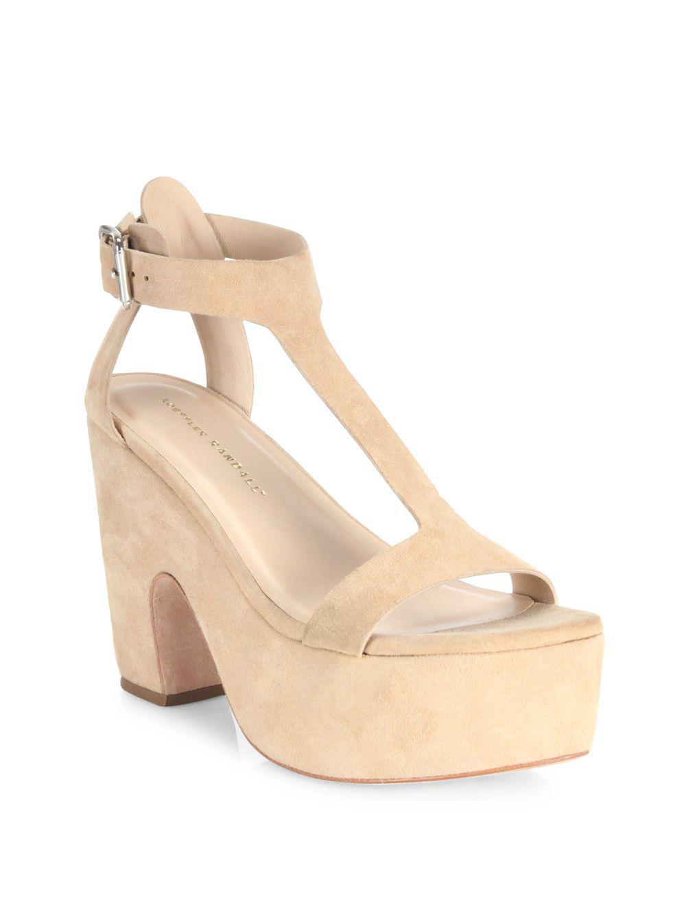 6f0384e3f271 Lyst - Loeffler Randall Minette Suede Platform Wedge Sandals in Natural