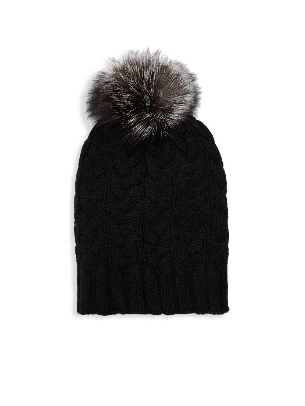 5a236c28102 Lyst - Adrienne Landau Natural Fox Fur Pom Pom Hat in Black