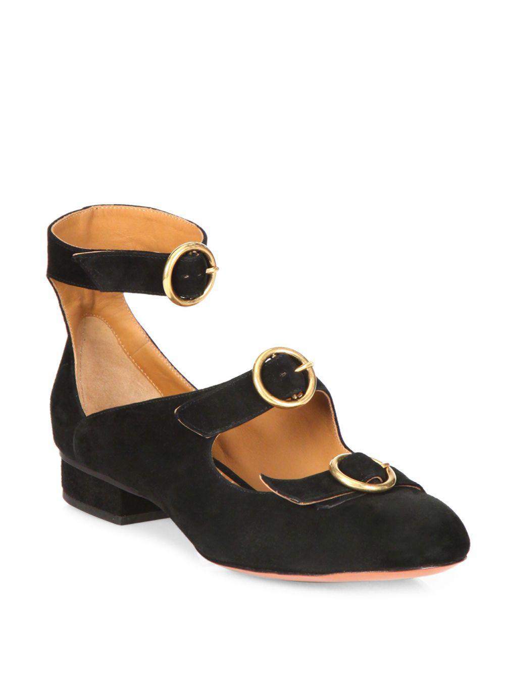 c11b7981f2c Lyst - Chloé Multi-strap Suede Ballet Flats in Black - Save 51%