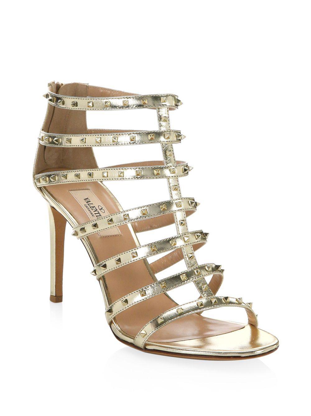 512df1a78c50 Lyst - Valentino Lovestud Metallic Leather Gladiator Sandals in ...