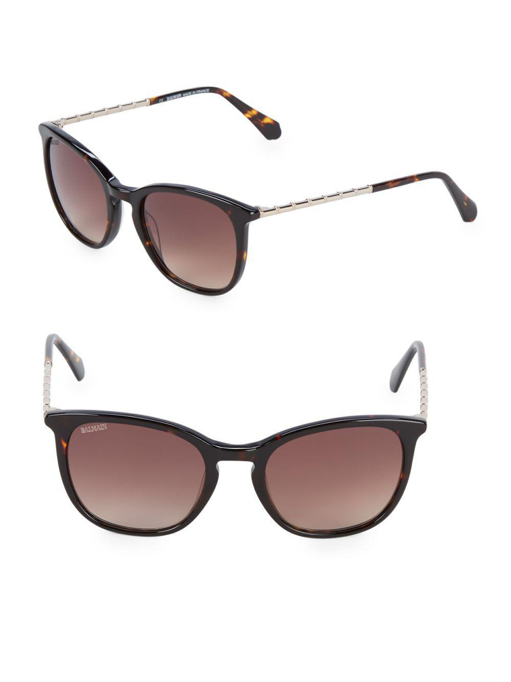 f55c9f8ea4 Lyst - Balmain Tortoise 51mm Square Sunglasses in Brown