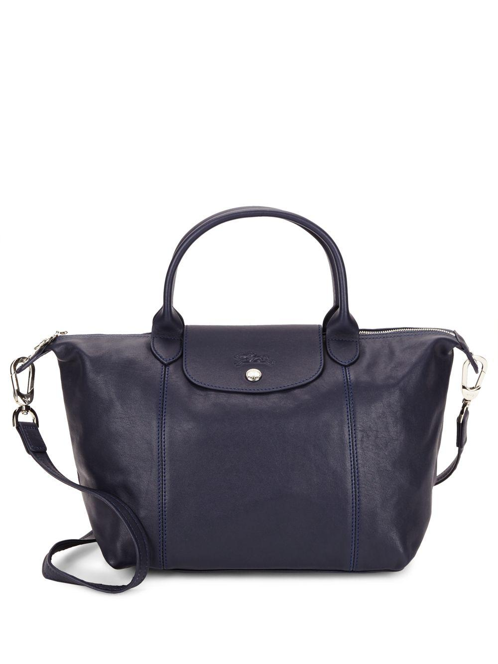 23dd1fc298e5 Longchamp Le Pliage Leather Tote in Blue - Lyst
