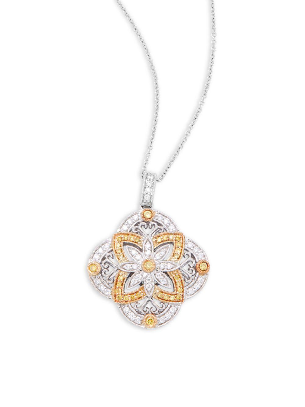 1f22bb0f470ae Effy Classique 14k White Gold Diamond Cross Pendant Necklace ...