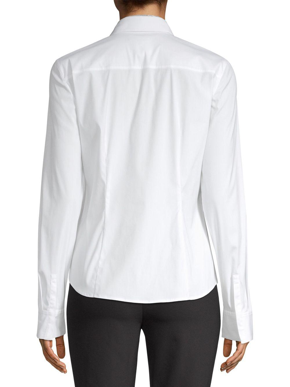 38668ac472dc6a Lyst - Lafayette 148 New York Phaedra Button-front Blouse in White