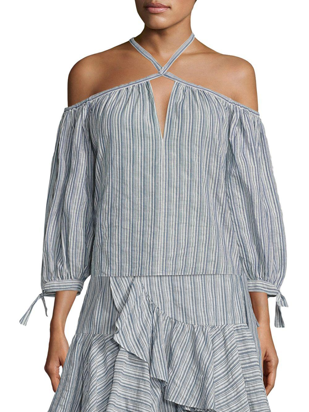 02902df3351e6c Lyst - Rebecca Taylor Striped Off-the-shoulder Top in Blue - Save 45%