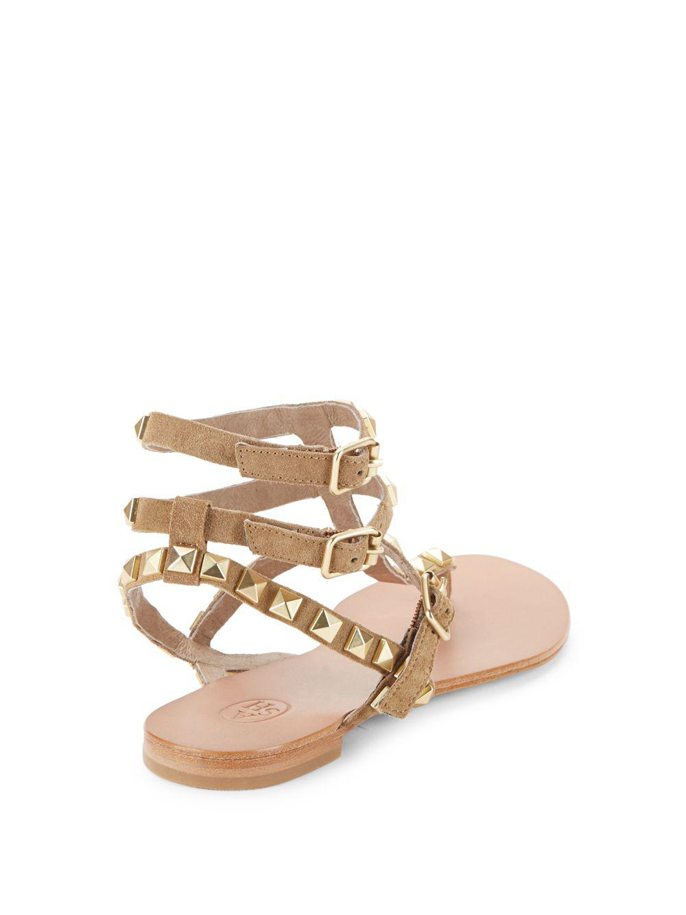 cf9254a7753b Lyst - Ash Mumbaia Studded Strappy Sandals in Brown - Save 17%