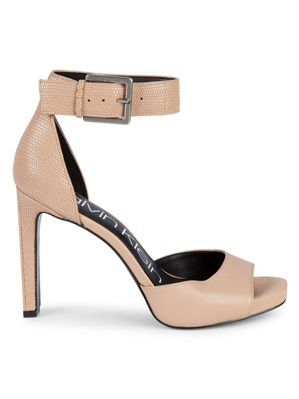 5650a81b7f7 Lyst - Calvin Klein Marinda Ankle-strap Leather Dress Sandals in Natural