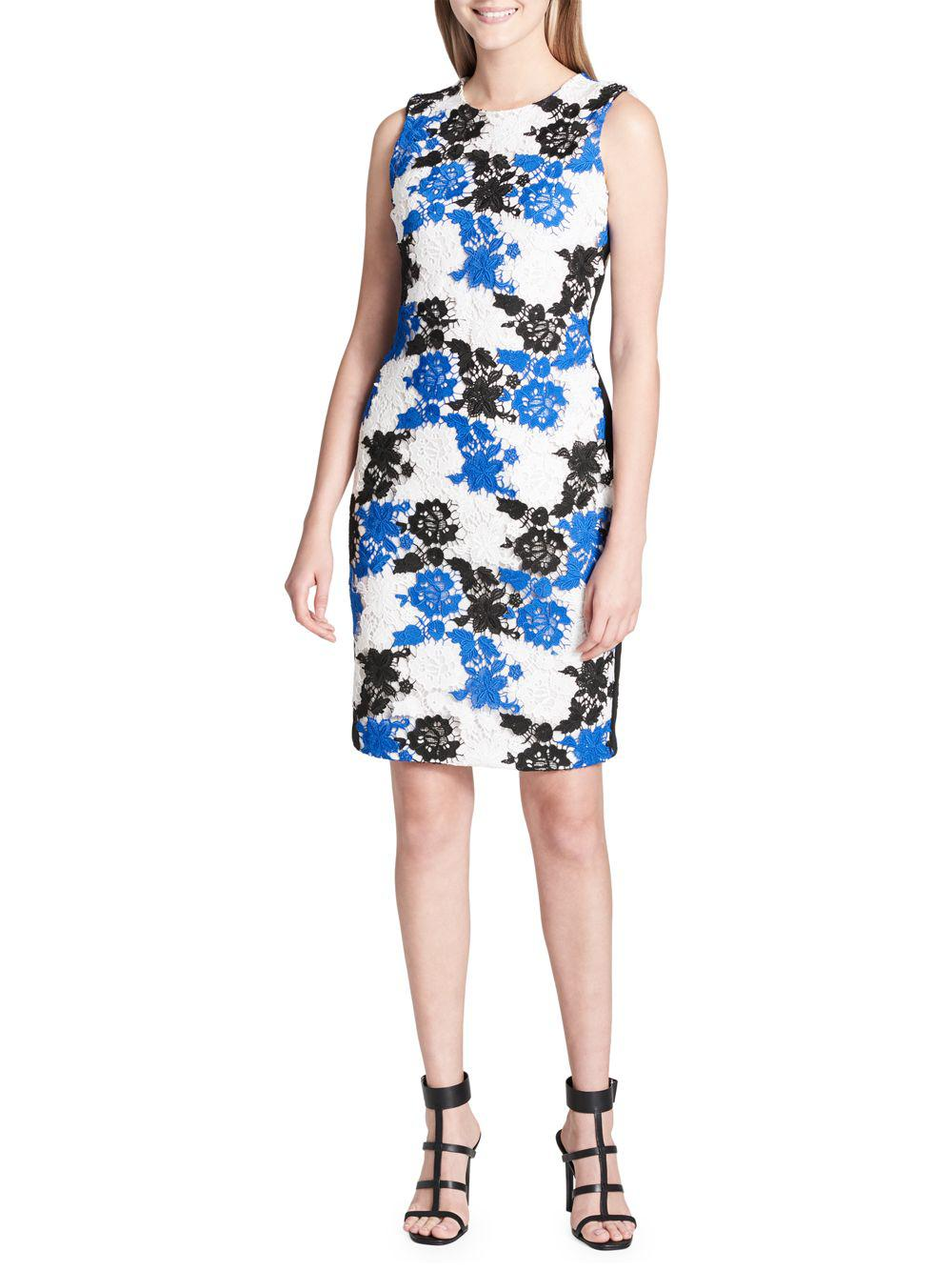 7c64d7e7b2b Lyst - Calvin Klein Sleeveless Floral Crochet Sheath Dress in Blue ...