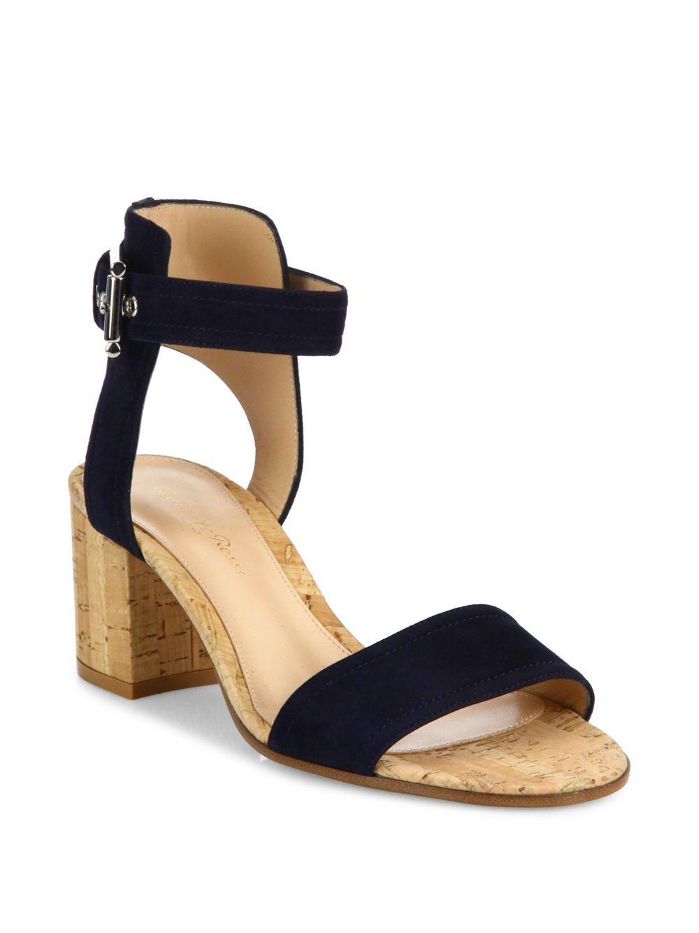 affaf886650 Gianvito Rossi Suede Cork Heel City Sandals in Orange - Lyst