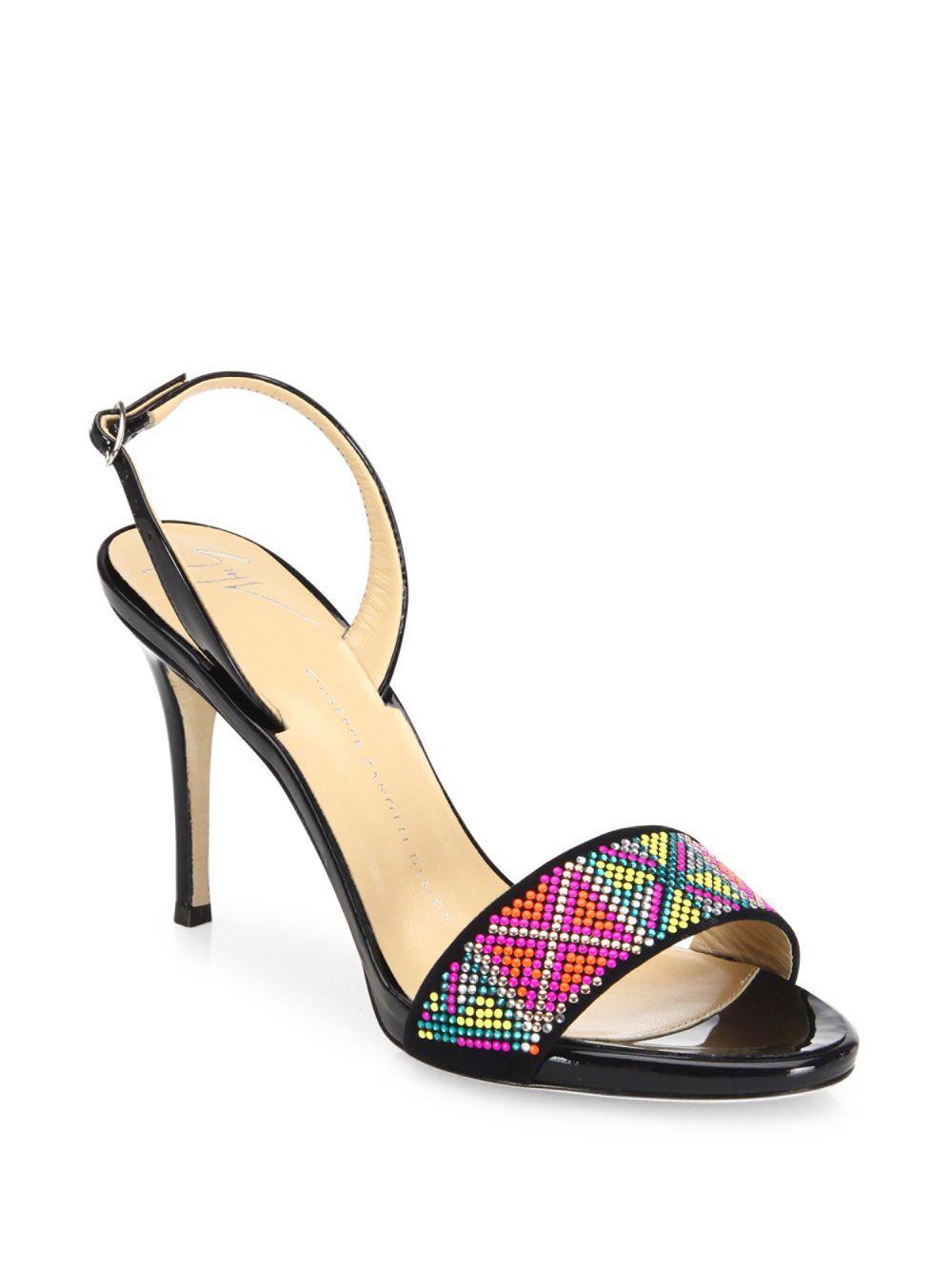4a5190af2 Giuseppe Zanotti. Women s Black Swarovski Crystal Accented Patent Leather  Slingback Sandals