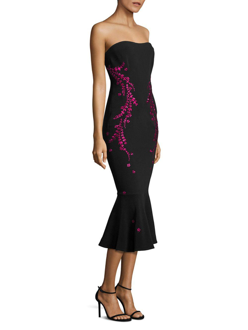 033b62135b3e Cinq À Sept Luna Embroidered Strapless Dress in Black - Lyst