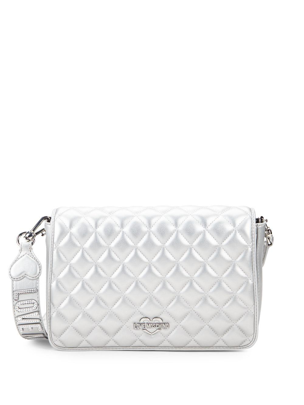 cd2f446f45 ... Metallic Quilted Faux Leather Convertible Crossbody Bag - Lyst. View  fullscreen