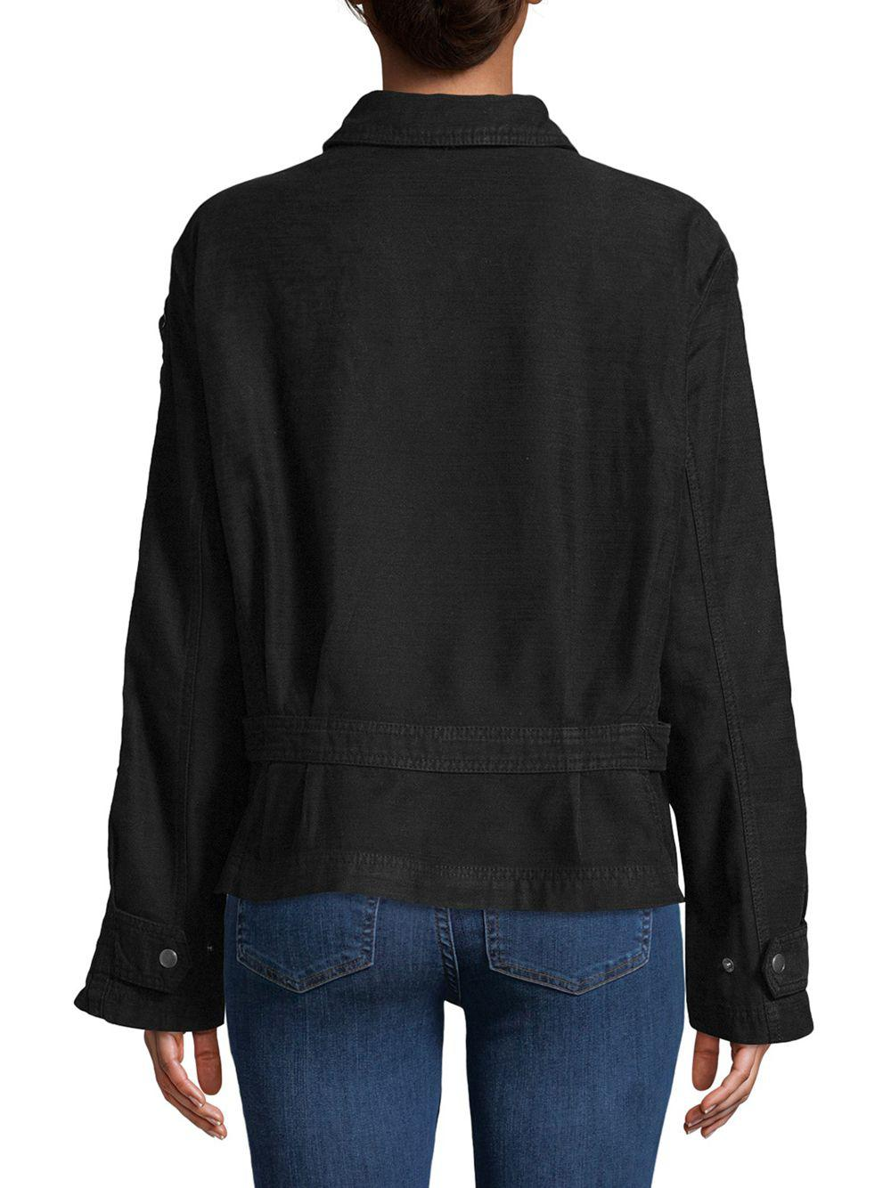 65037faeca Free People - Black Faye Collared Cotton Jacket - Lyst. View fullscreen