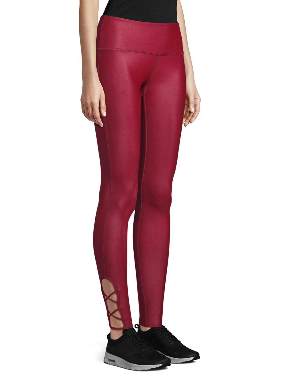32ce54830 Just Live Lace-up Barre Leggings in Red - Lyst