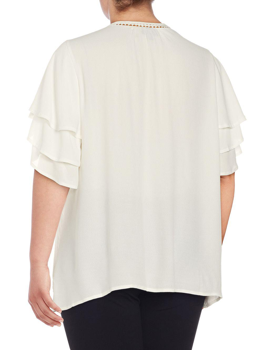 4ba9abfae1f2a7 Lyst - Bobeau Plus Clare Ruffle Drape Blouse in White