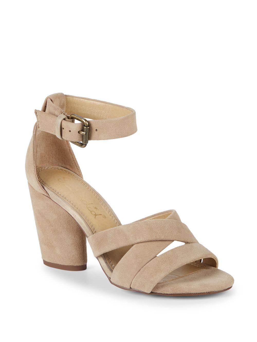 de1bdba3d5f Lyst - Splendid Nolan Block Heel Suede Sandals in Natural