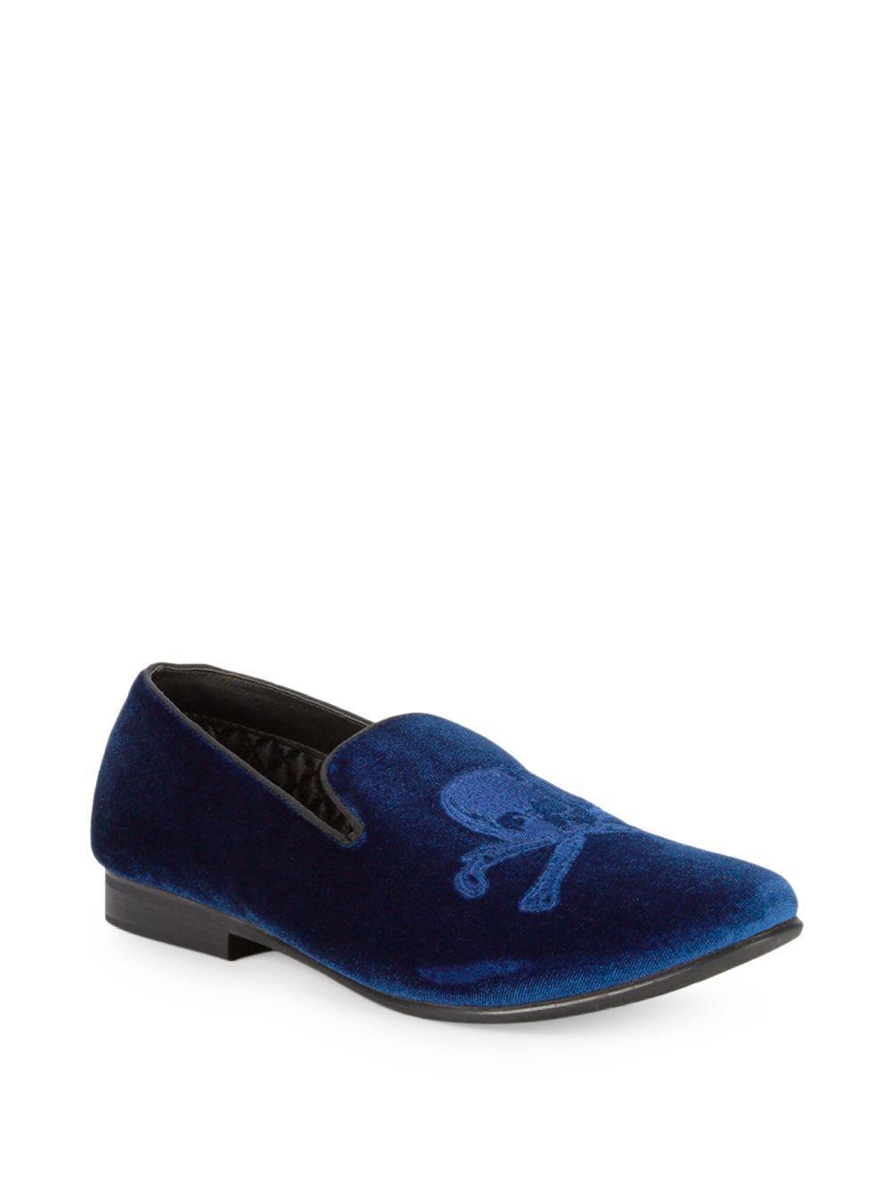 f2ac4be6e01f Lyst - Steve Madden Skull-patch Velvet Smoking Slippers in Blue for Men