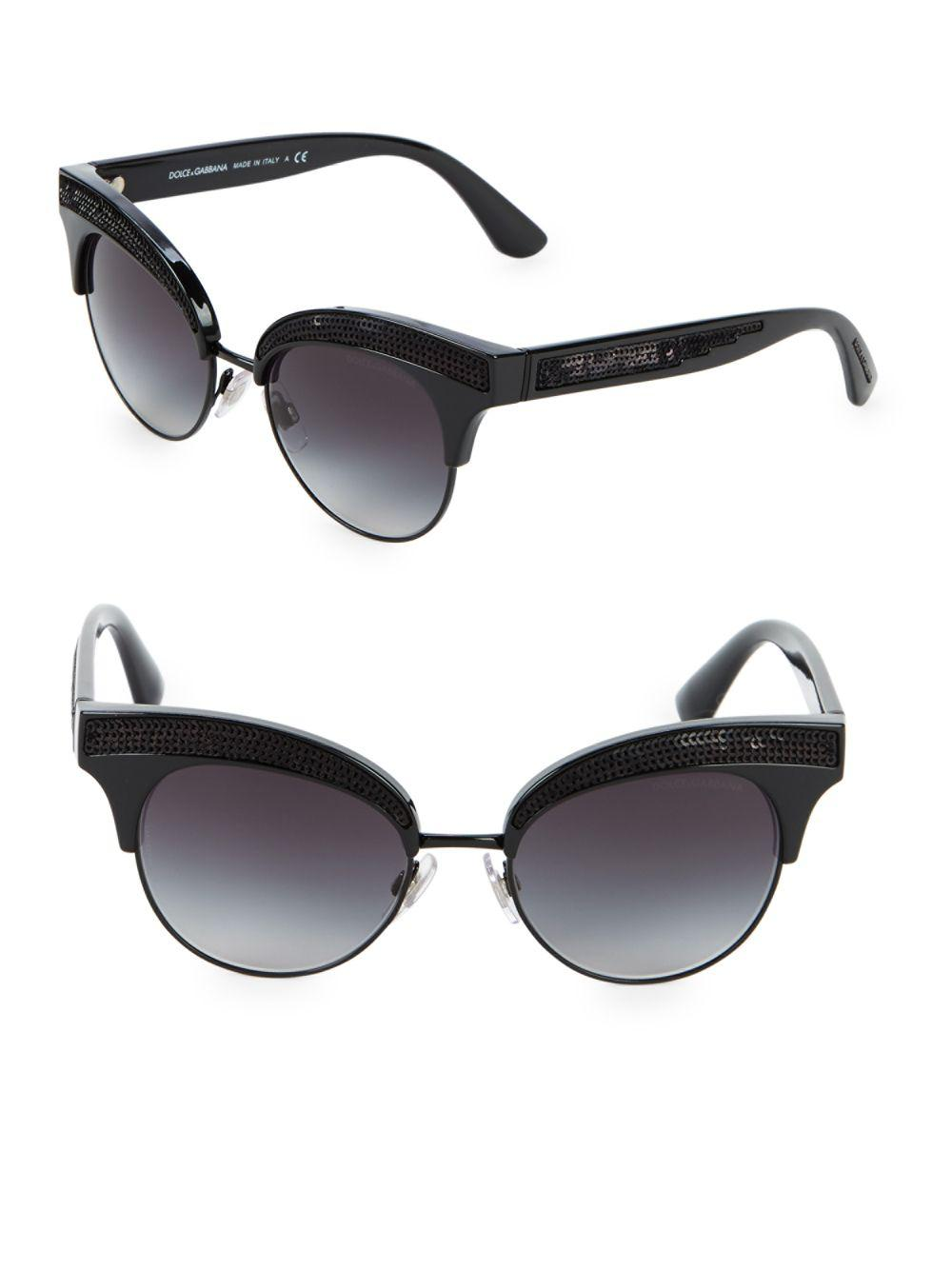 0a5713cfdb3 Lyst - Dolce   Gabbana 50mm Sequin Trim Cateye Sunglasses in Black