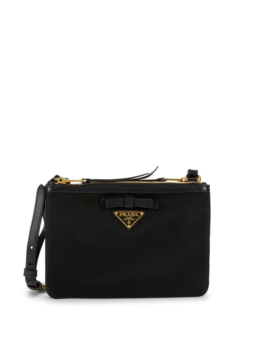 715c2dabd190e1 Prada Bow Logo Plaque Crossbody Bag in Black - Lyst