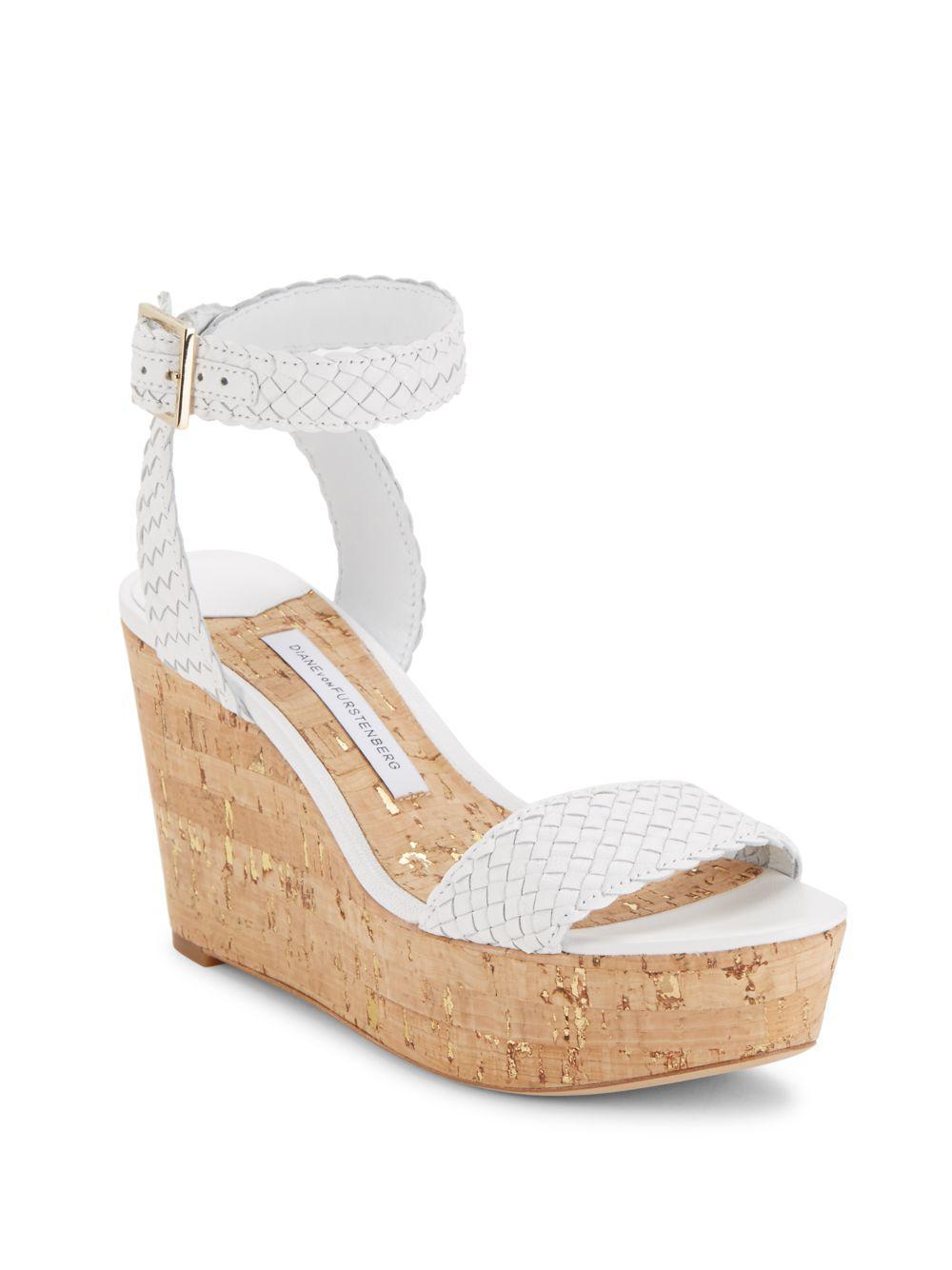 8fa08d89aa7 Lyst - Diane von Furstenberg Montclair Leather Ankle Strap Wedges in ...