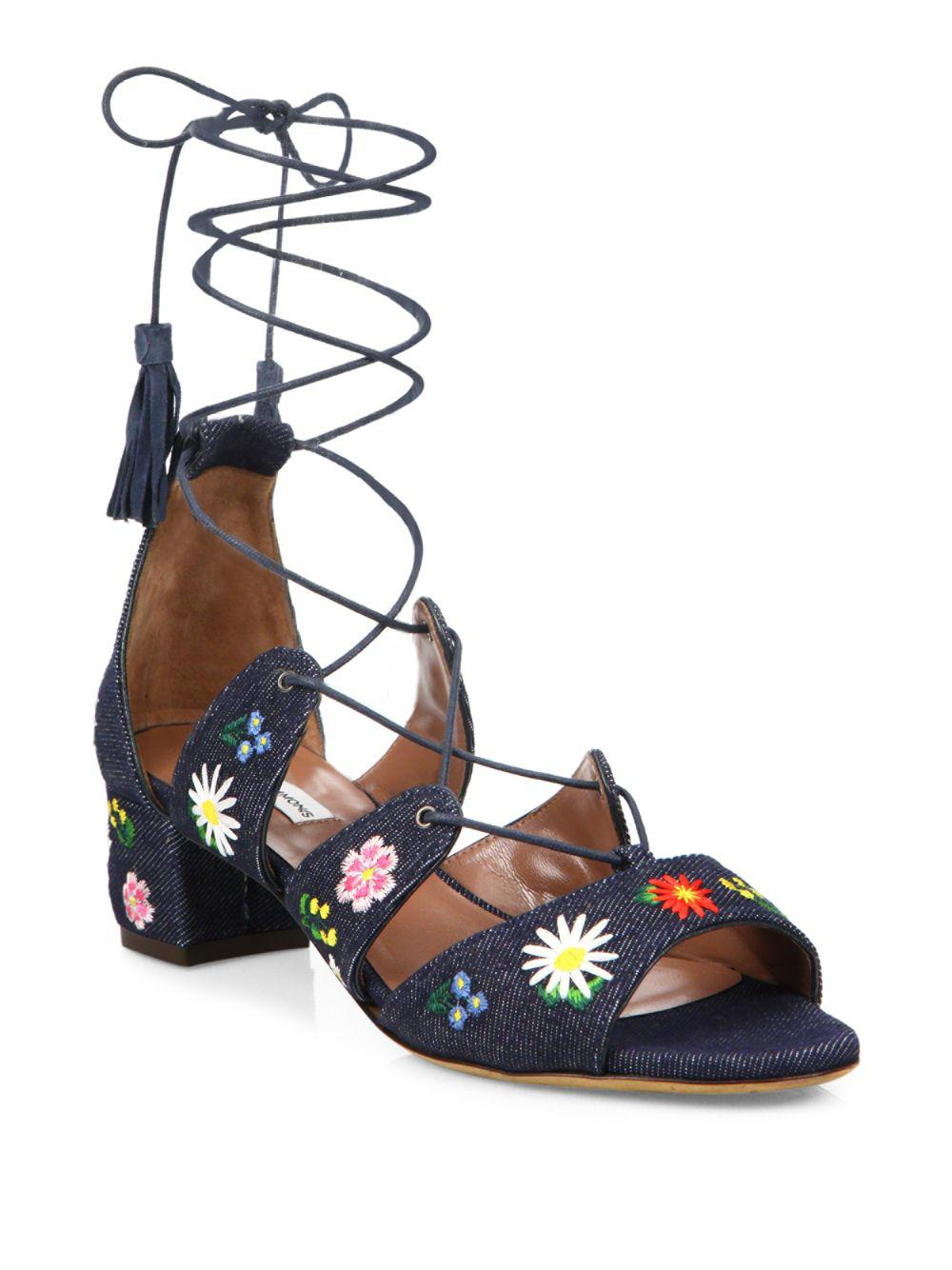 f54a939ef6bb Tabitha Simmons Isadora Flower-embroidered Denim Lace-up Sandals in ...