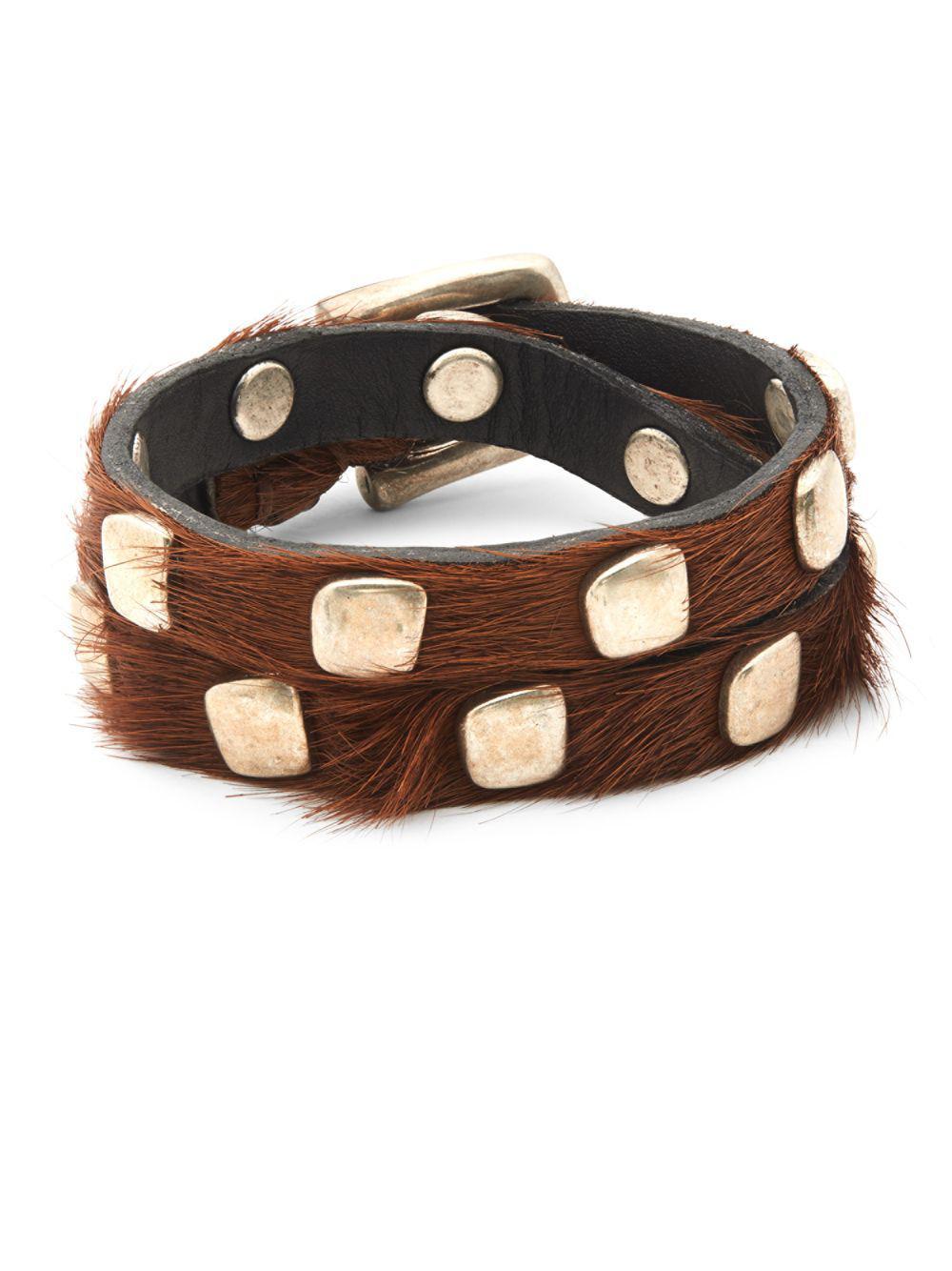 e27572b237b64 Lyst - Uno De 50 Calf Hair Studded Bracelet in Brown