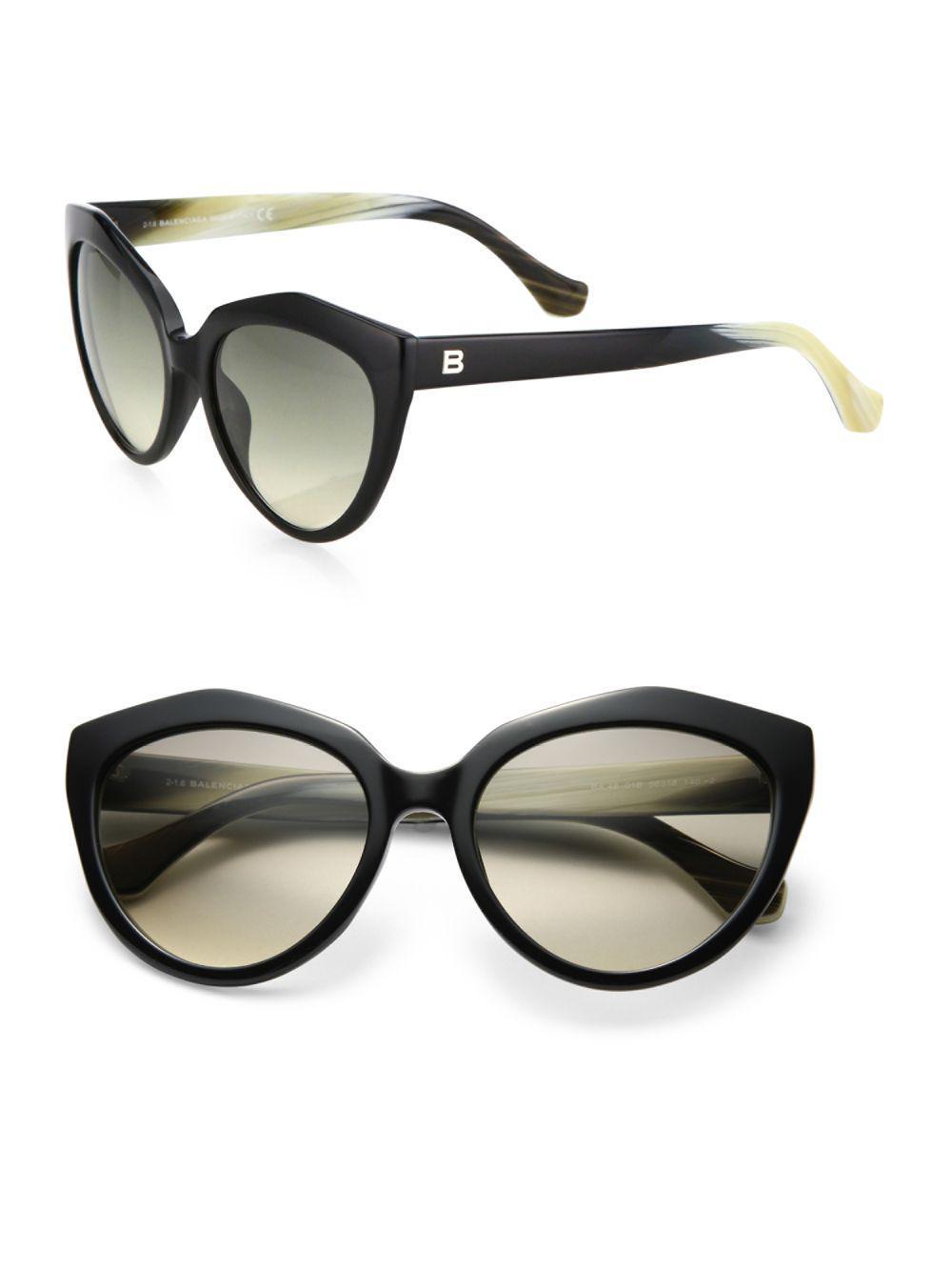 2d0ce00b89b Lyst - Balenciaga 56mm Acetate Cat s-eye Sunglasses in Black for Men