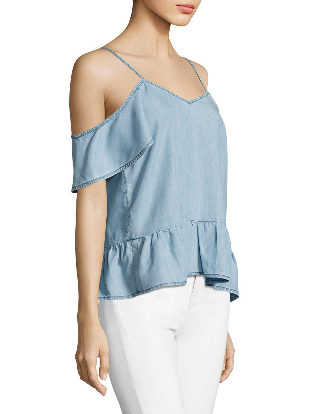b2140d6355bd1f PAIGE - Blue Mitzi Chambray Off-the-shoulder Top - Lyst. View fullscreen