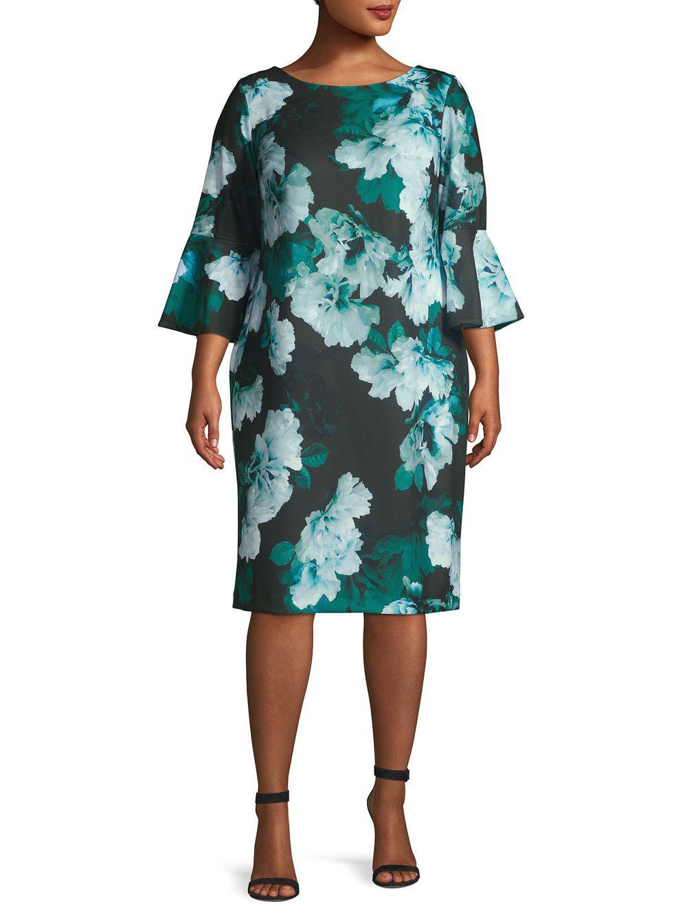 0e0b1bb815c3 Lyst - Calvin Klein Plus Floral Printed Shift Dress in Green