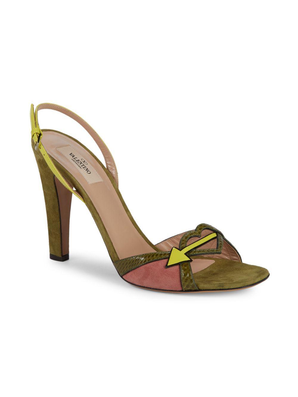 09d5234aad2 Lyst - Valentino Snakeskin-trim Suede Arrow Sandals in Green