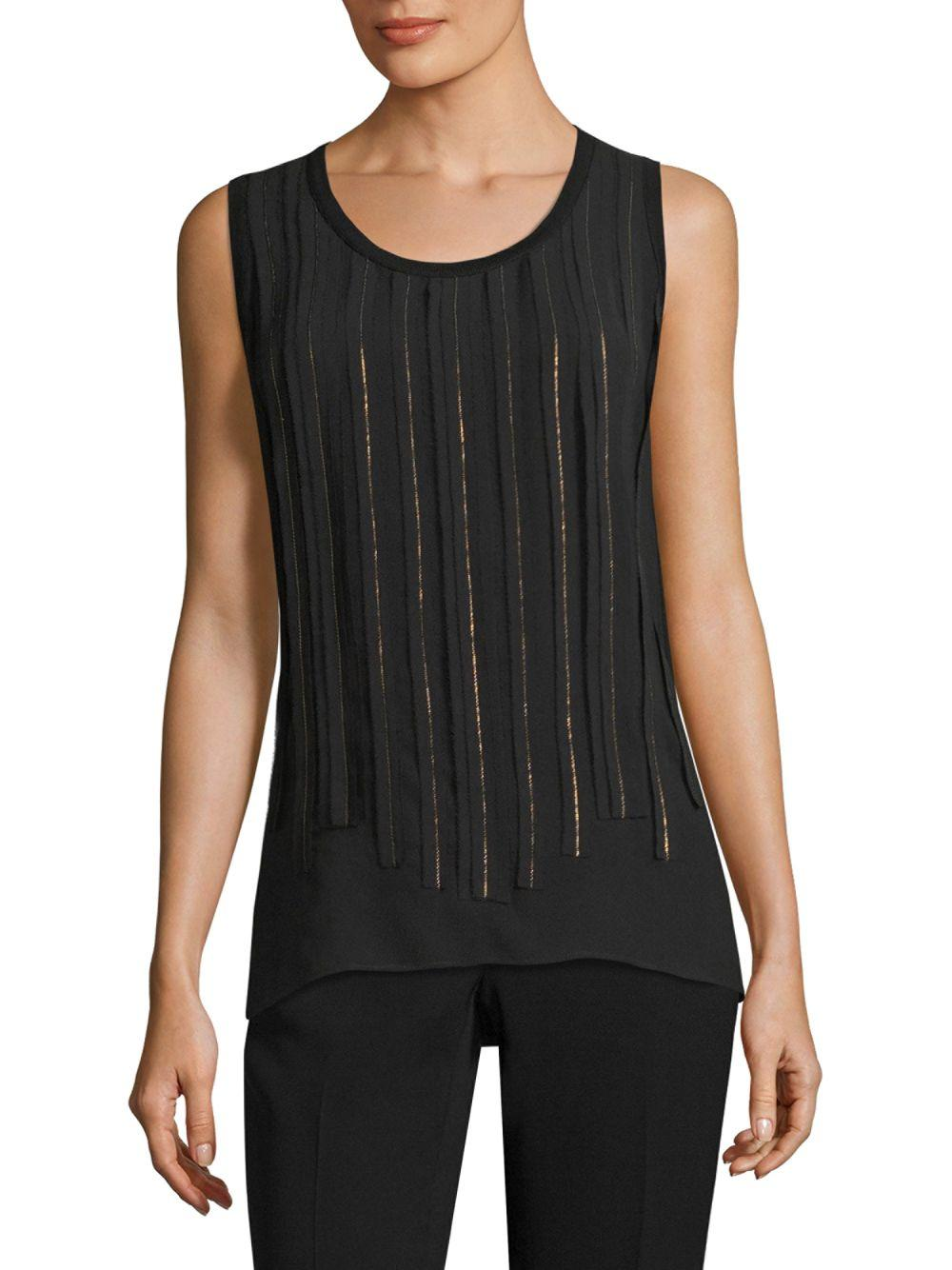 e70bca349b5d0 Lyst - Lafayette 148 New York Jules Knit Combo Chain Blouse in Black ...