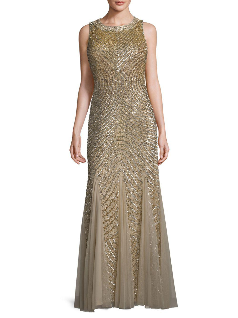 Lyst - Aidan Mattox Embellished Circle-back Godet Gown in Metallic