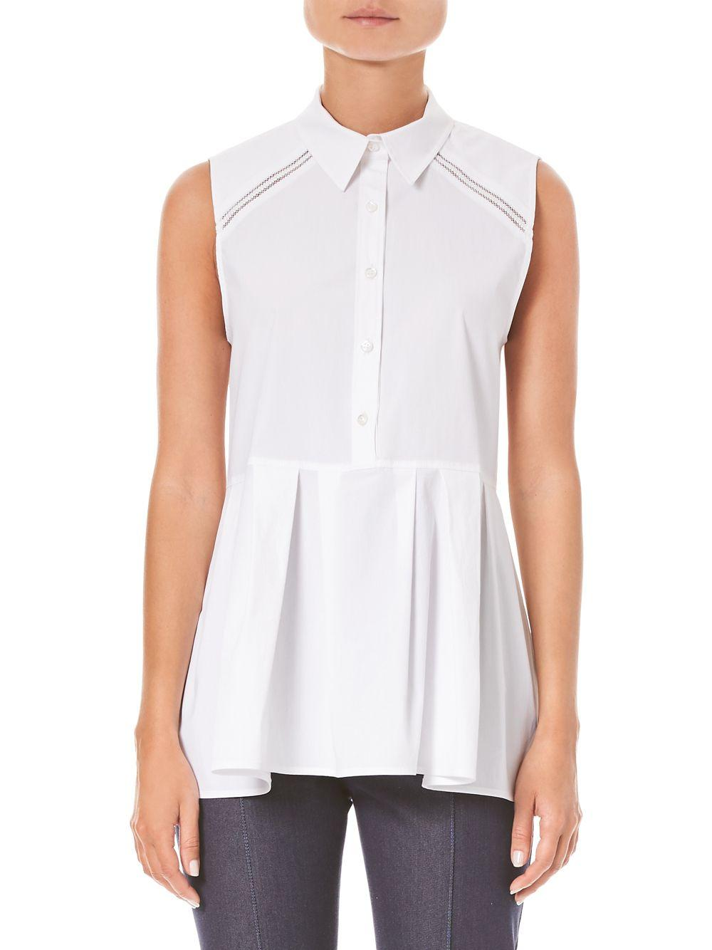 a16f9b584444c Carolina Herrera - White Stretch Sleeveless Peplum Shirt - Lyst. View  fullscreen