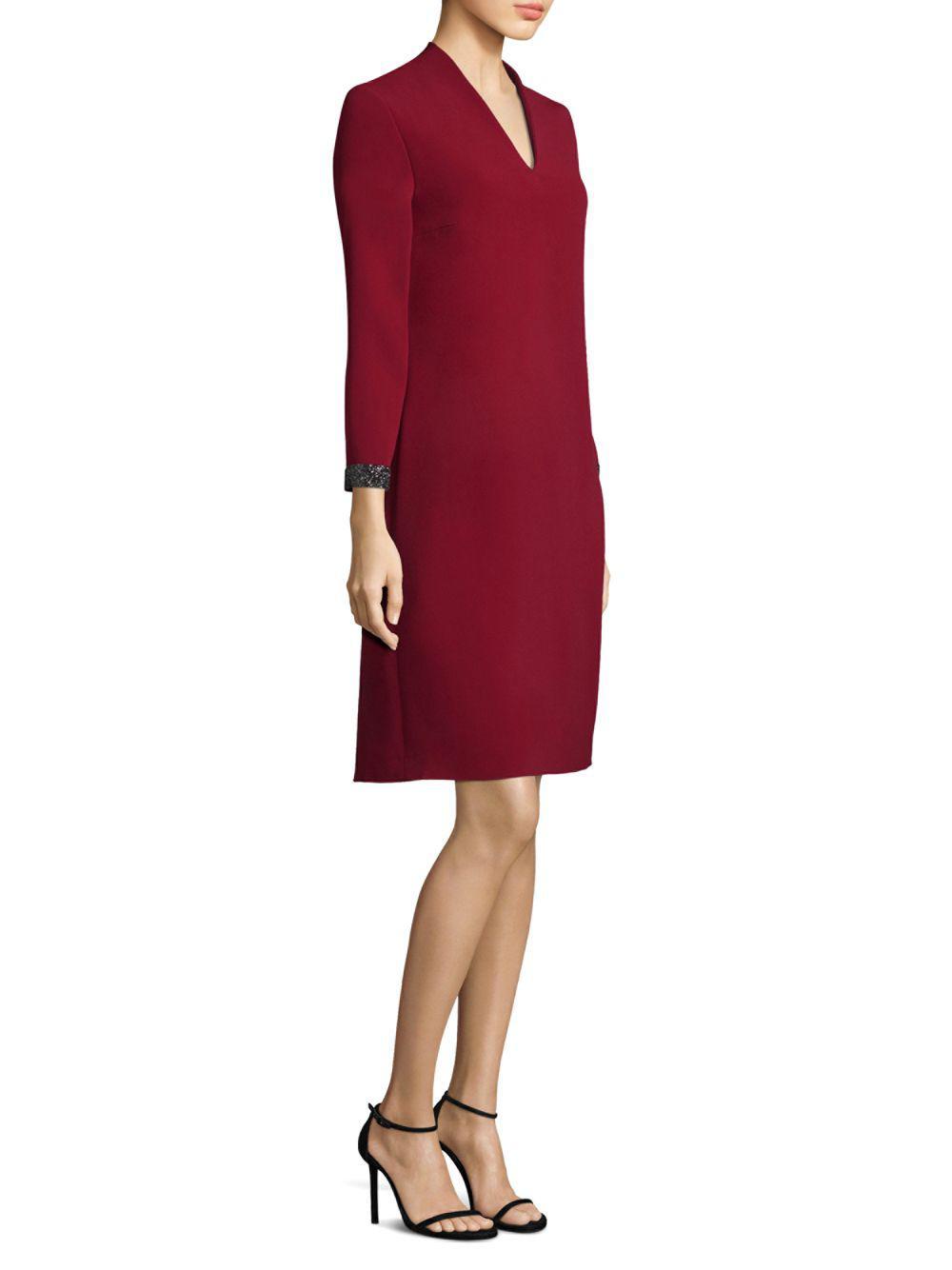 a00b5fbfb2db5 Lyst - ESCADA Crystal Cuff Crepe Shift Dress in Red - Save 3%