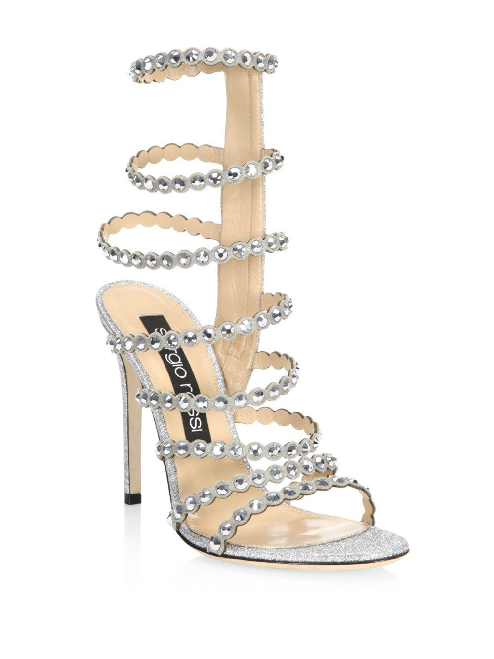2e541d850ca3 Lyst - Sergio Rossi Crystal-embellished Gladiator Sandals in Gray