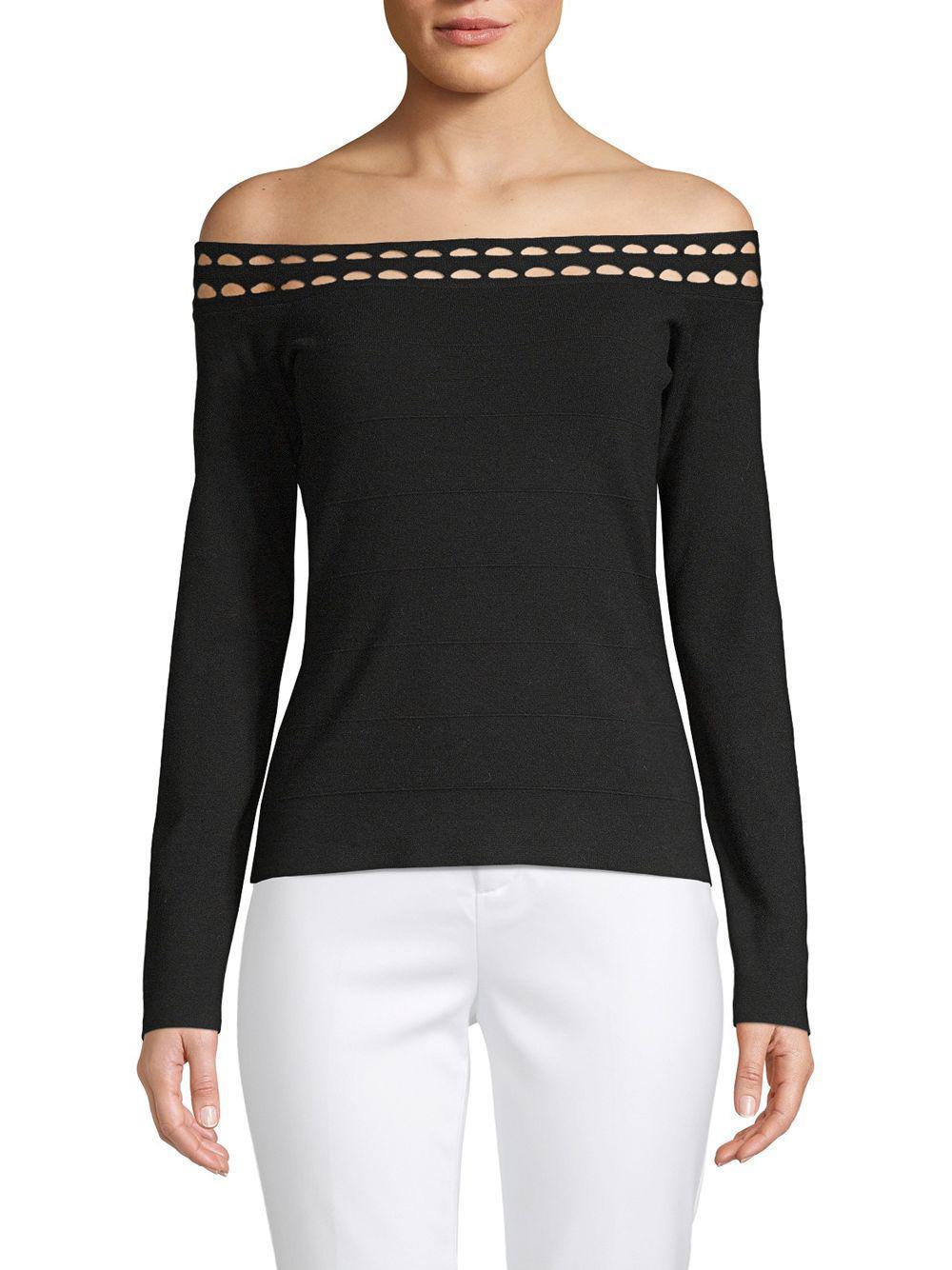 7a26394b520567 Lyst - Elizabeth And James Eniko Cutout Off-the-shoulder Top in Black