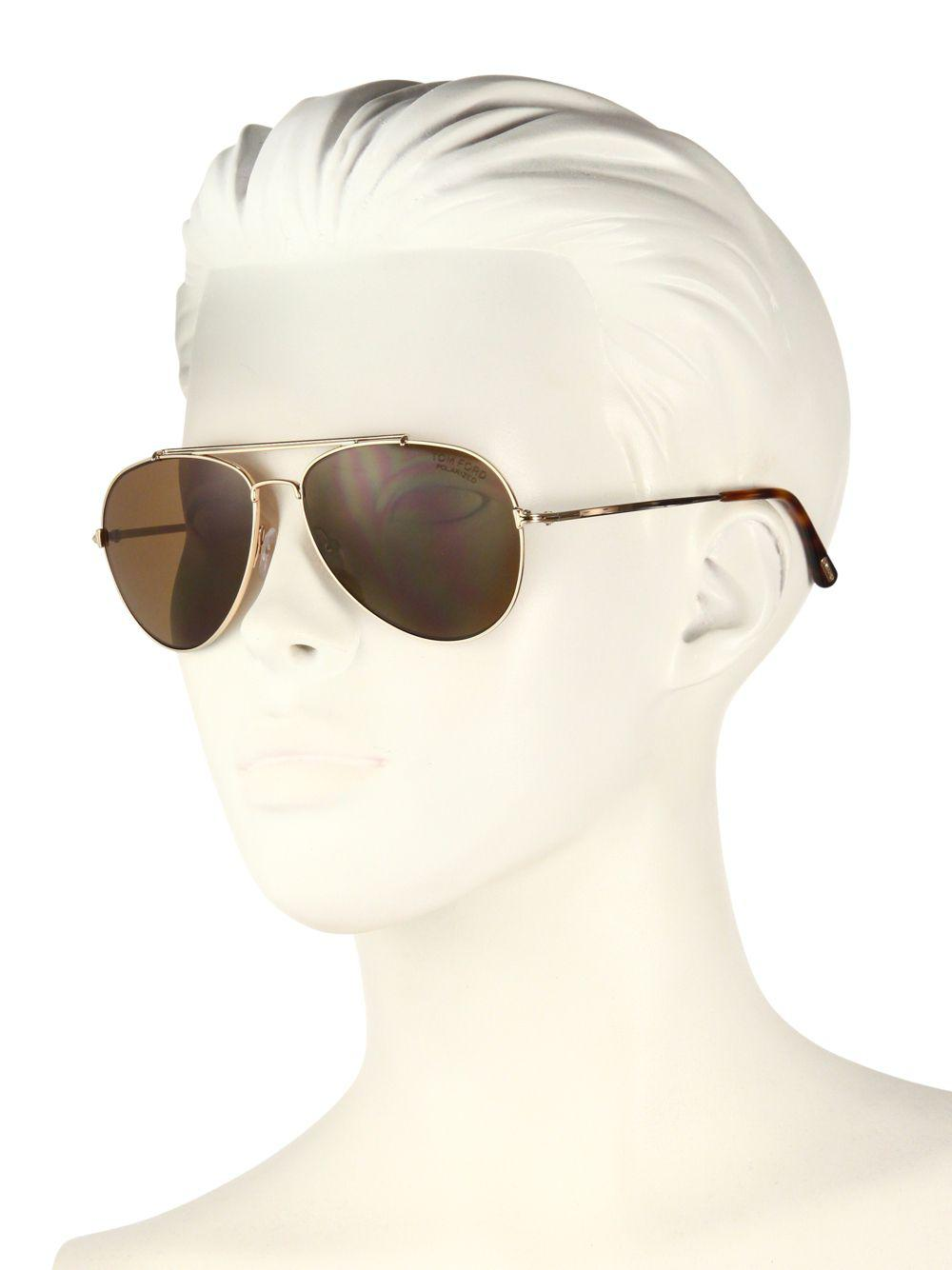c3e6935cff5 Tom Ford - Yellow Indiana 58mm Polarized Aviator Sunglasses - Lyst. View  fullscreen