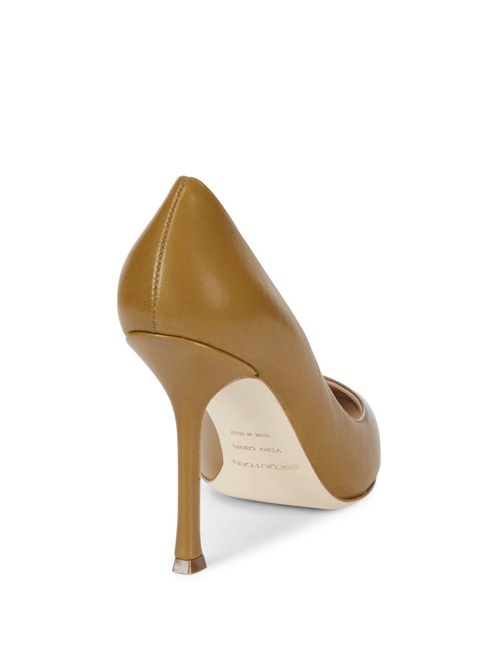 dedecbd7ddb Lyst - Sergio Rossi Leather Stiletto Pumps in Natural - Save  55.55555555555556%