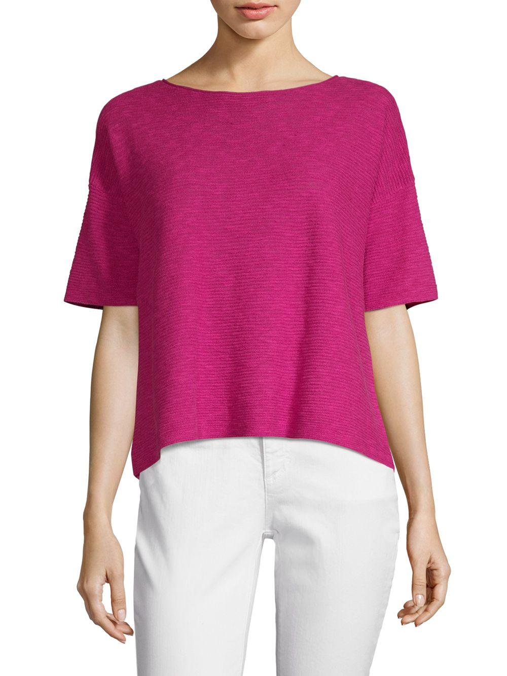 b2b0428b3ff221 Lyst - Eileen Fisher Boxy Linen Cotton Slub Knit Top in Pink - Save ...