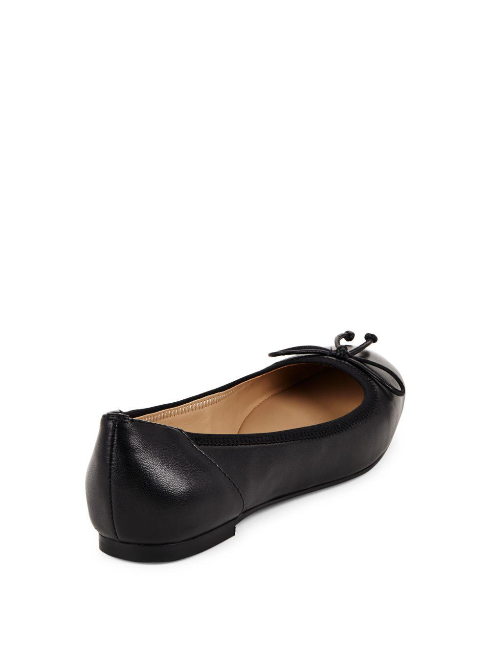 Saks Fifth Avenue Leather Round-Toe Flats sale pre order discount reliable WXowM