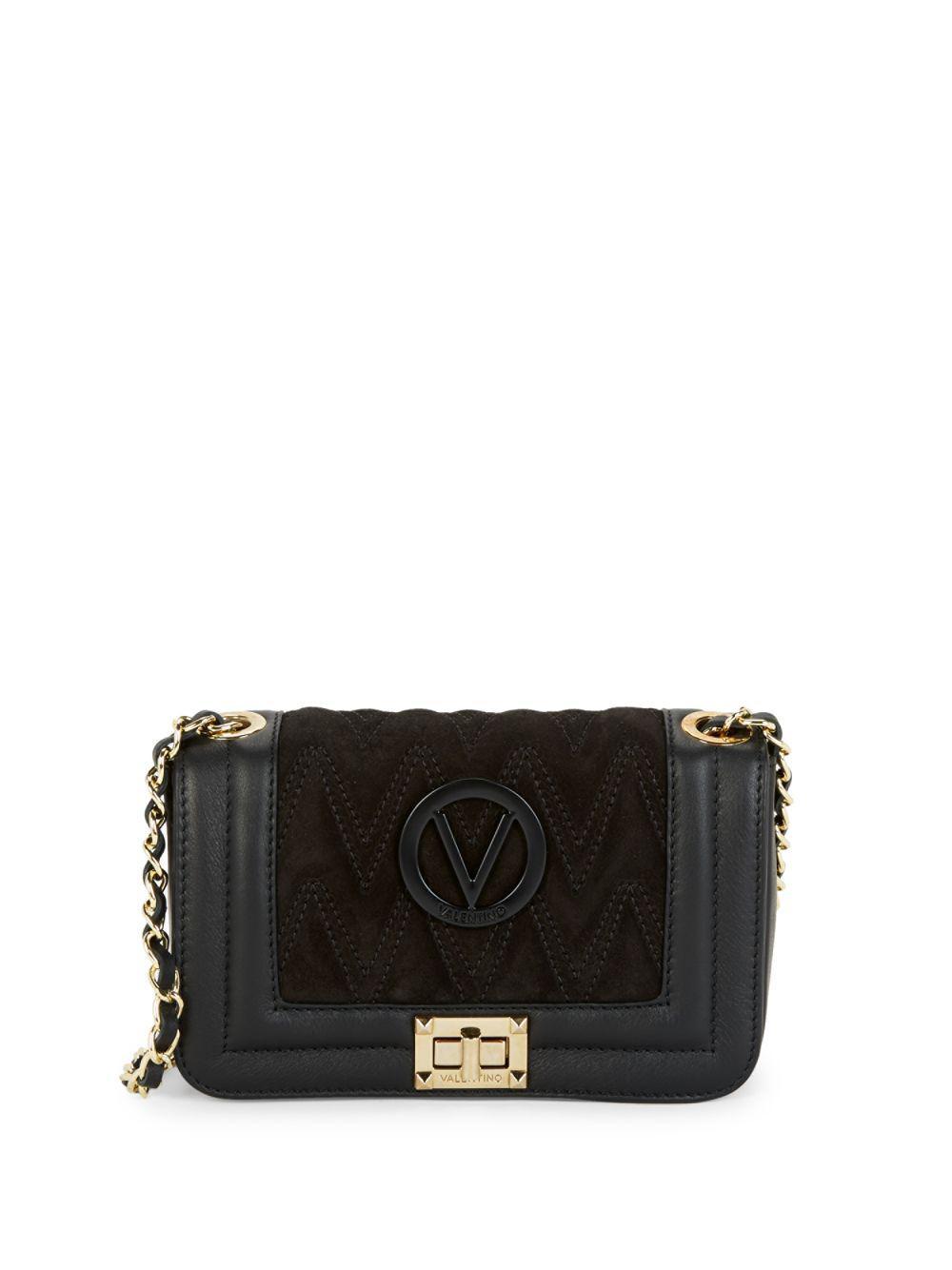 a41e7dfc597 Valentino By Mario Valentino. Women's Black Beatriz Suede & Leather Chevron  Boxed Crossbody Bag