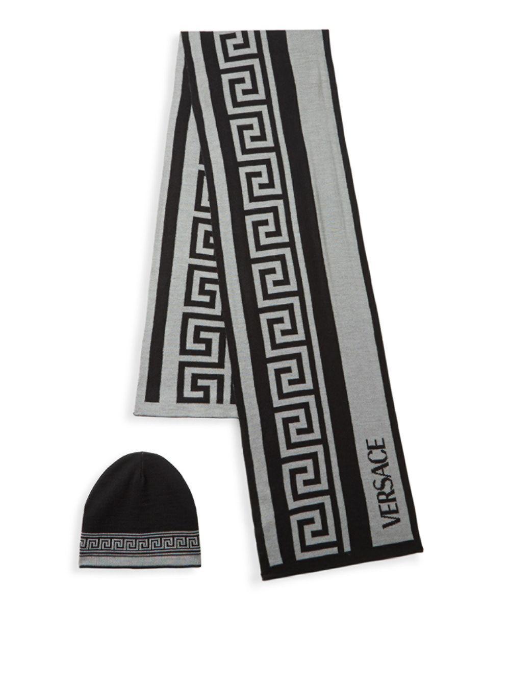 7fc1dd8919a Lyst - Versace Two-piece Greek Key Scarf And Beanie Set in Black