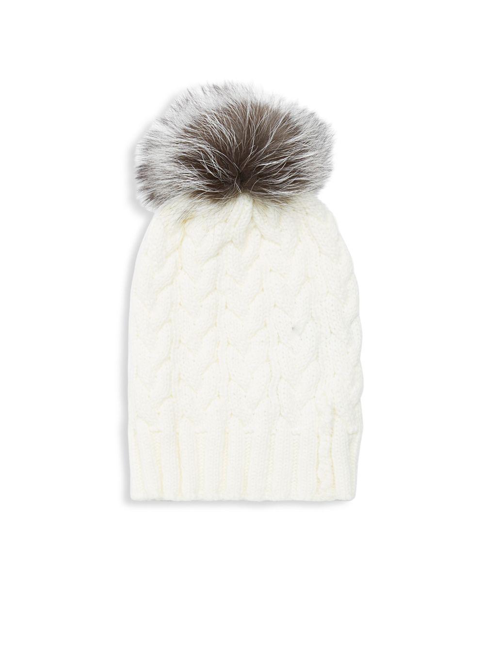 4e6cc035ade Lyst - Adrienne Landau Natural Fox Fur Pom Pom Hat in White