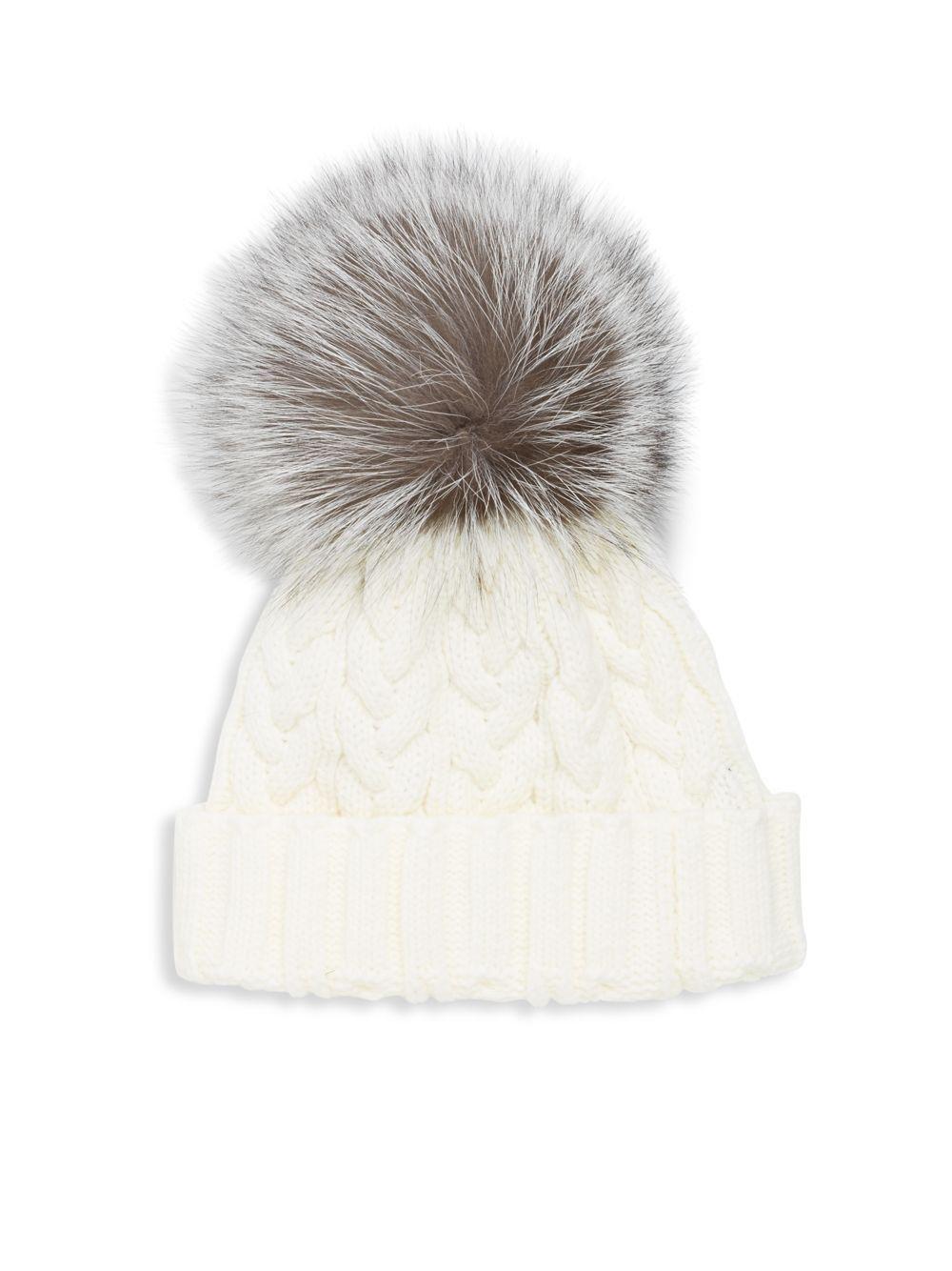 b2327b2918d7d8 Adrienne Landau Cable-knit Fox Fur Hat in White - Lyst
